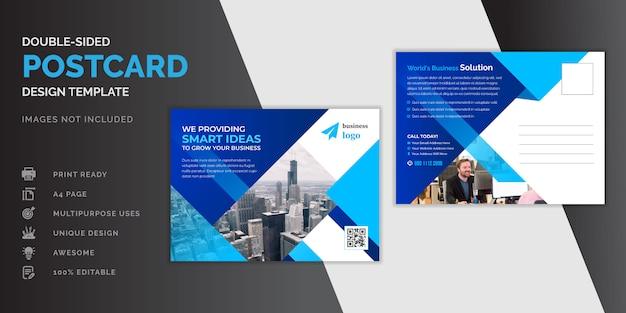 Blaues postkarten-design des unternehmensgeschäfts