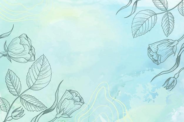 Blaues pulverpastell mit handgezeichnetem blumenhintergrund
