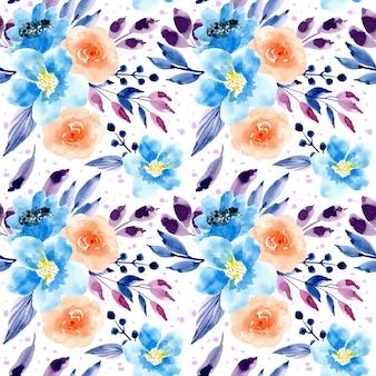 Blaues purpurrotes nahtloses mit blumenmuster des aquarells