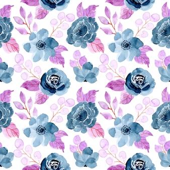 Blaues purpurrotes nahtloses muster mit dem aquarell mit blumen