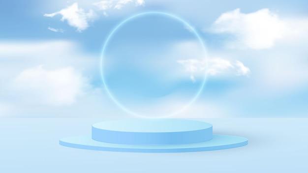 Blaues rendering des hintergrundvektors mit podium und minimaler bewölkter szene. himmelblaue pastellwolke mit rundem rahmen. vektorillustration