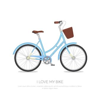 Blaues retro- fahrrad mit dem korb lokalisiert auf weißem hintergrund. buntes fahrrad flache vektor-illustration