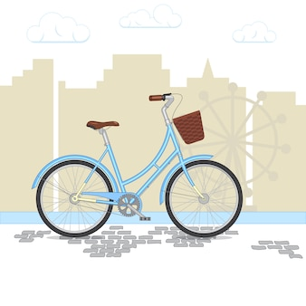 Blaues retro- fahrrad mit korb auf stadthintergrund. buntes fahrrad im park. flache vektor-illustration