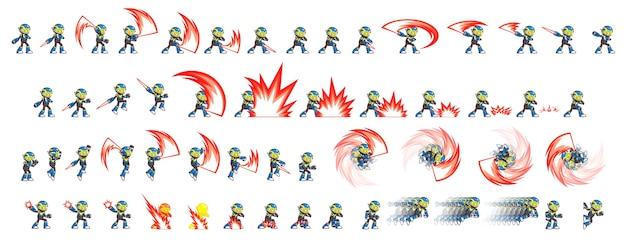 Blaues roboterangriffsspiel sprites