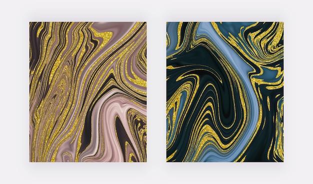 Blaues, rosa mit abstraktem design der flüssigen tintenmalerei des goldenen glitzers