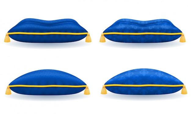 Blaues samtkissen aus satin mit goldenem seil und quasten