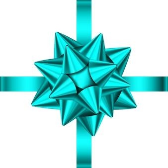 Blaues satiniertes geschenkband und schleife isoliert auf weiß