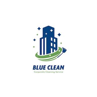 Blaues sauberes geschäftsgebäude büroreinigungsservice und hausmeisterlogo-ikonenfirma