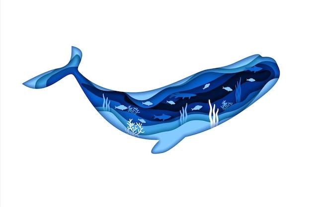 Blaues schattenbild des wals lokalisiert auf weißem hintergrund. vektorillustrationsdesign im papierschnittstil. doppelbelichtung von fischen und unterwasserlebewesen.