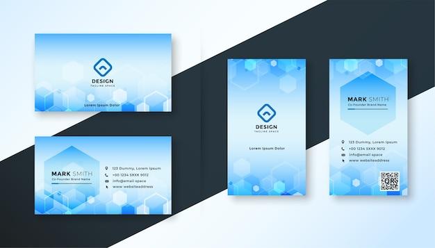 Blaues sechseckiges visitenkartenschablonendesign im medizinischen stil