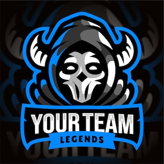 Blaues sensenmann-esport-gaming-logo