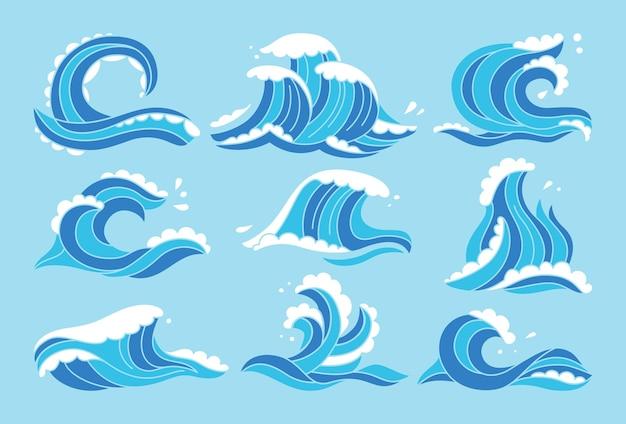 Blaues set mit meereswellen
