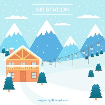 Blaues skigebiet design