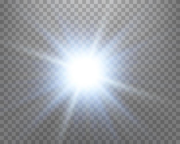 Blaues sonnenlicht blendenfleck, sonnenblitz mit strahlen und scheinwerfer. glühende explosionsexplosion auf einem transparenten hintergrund. vektor-illustration.