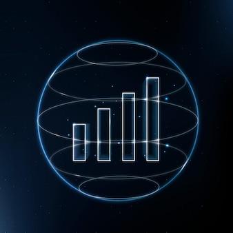 Blaues symbol der wifi-signalkommunikationstechnologie mit balkendiagramm