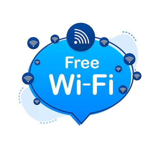 Blaues symbol für die kostenlose wlan-zone. kostenloses wlan hier unterzeichnen konzept. vektorgrafik auf lager.