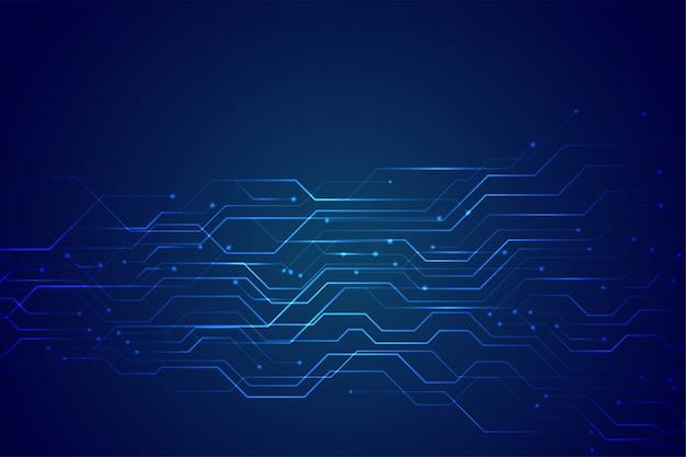 Blaues technologieschaltbild mit leuchtender linie leuchtet