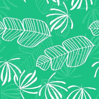 Blaues tropisches blattmuster. tropisches nahtloses muster mit weißen blättern von monstera-, bananen- und palmen