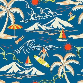 Blaues tropisches inselmuster mit touristischer karikaturillustration