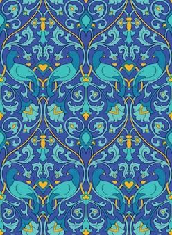 Blaues und gelbes blumenmuster. nahtlose filigrane verzierung. bunter hintergrund mit vögeln und blume.