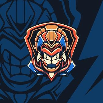 Blaues und goldenes cyborg-monster