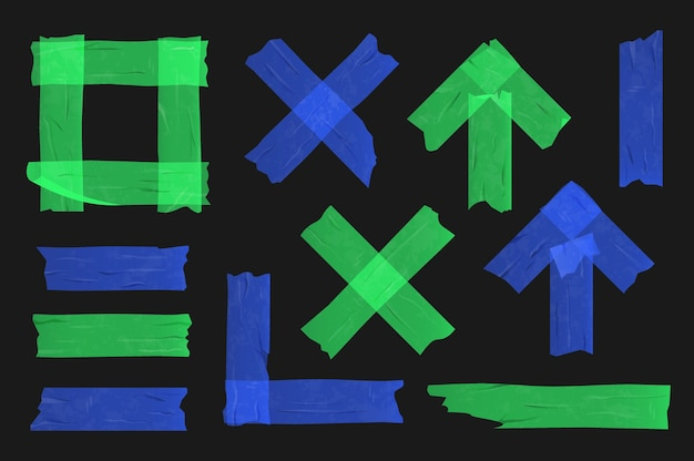 Blaues und grünes klebeband auf schwarzem hintergrund. verschiedene klebebandstücke.