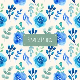 Blaues und grünes muster mit aquarellblume