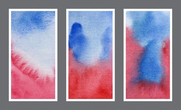 Blaues und rotes netzfahnenaquarellhintergrundsatz