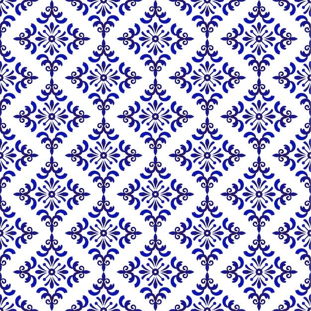 Blaues und weißes barock- und damastmuster, nahtloser dekorativer mit blumenhintergrund