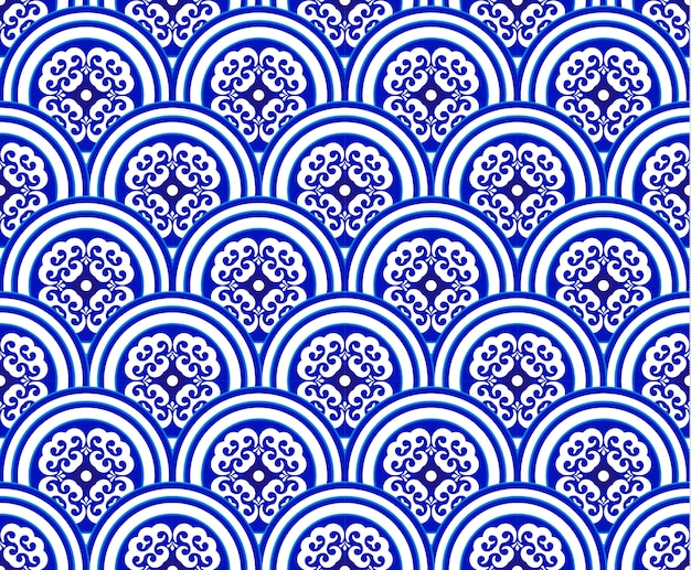 Blaues und weißes japan und chinesisches nahtloses muster