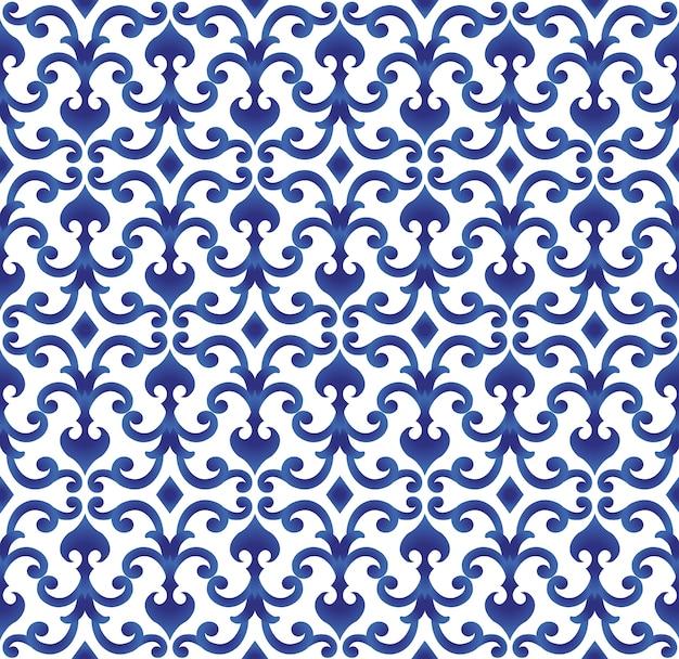 Blaues und weißes keramisches muster japan und chinesische art, porzellanhintergrund-designvektor