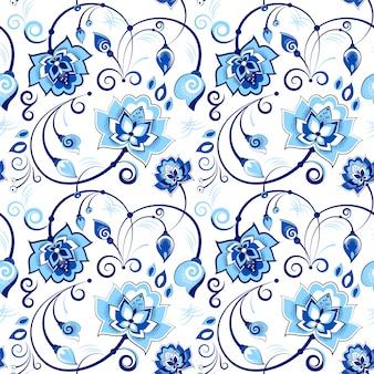 Blaues und weißes nahtloses mit blumenmuster im slawischen thema