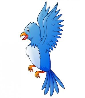 Blaues vogelkarikaturfliegen im himmel