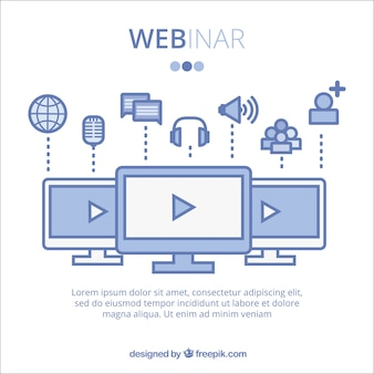 Blaues webinar-design
