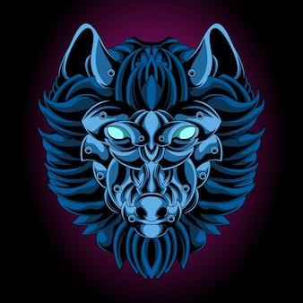 Blaues wolf-eisen-emblem