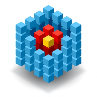 Blaues würfel-logo mit roten segmenten