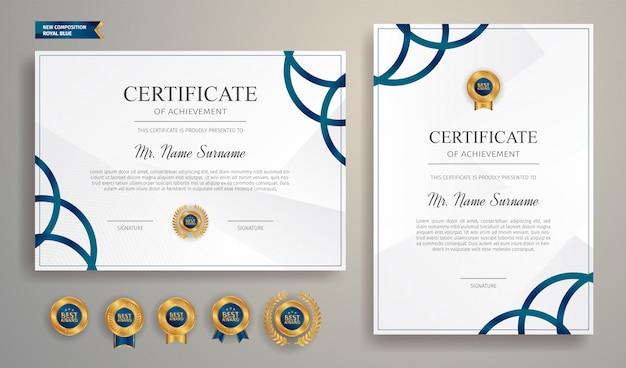 Blaues zertifikat mit goldabzeichen und grenzschablone