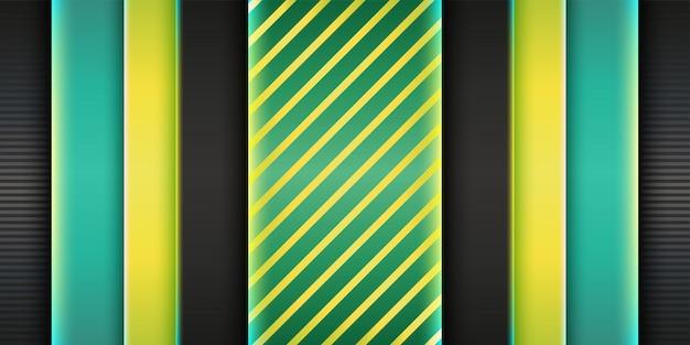 Blaugrüner hintergrund der dunklen abdeckung mit geometrischem elementdesign des grünen gelben effekts