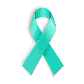 Blaugrünes band symbol für sklerodermie, eierstockkrebs, nahrungsmittelallergie, tsunami-opfer, nierenerkrankung, sexueller übergriff.
