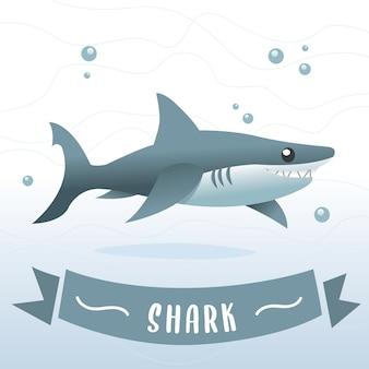 Blauhai-karikatur, haifischzeichentrickfilm-figur im vektor. lächelnde haifischkarikaturillustration