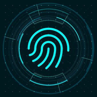 Blaulicht-fingerabdrucksymbol und kreis-hud-digitalbildschirm auf dunklem hintergrundillustration, cyber-sicherheitstechnologiekonzept.