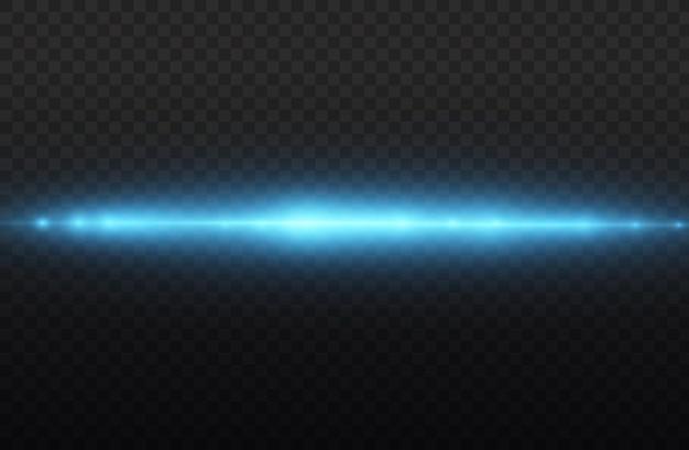 Blaulicht-flare-teiler laserstrahlen horizontale lichtstrahlen leuchtende streifen blaue linsenfackel-pack