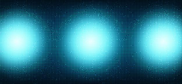 Blaulicht-mikrochip auf technologischem hintergrund, high-tech-digital- und sicherheitskonzept