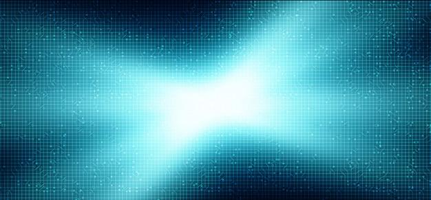 Blaulicht-mikrochip auf technologischem hintergrund, high-tech-digital- und sicherheitskonzeptdesign