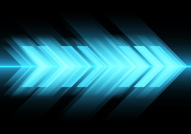 Blaulichtpfeilgeschwindigkeit auf schwarzem technologiehintergrund.
