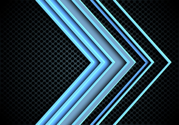 Blaulichtpfeilrichtung auf kreismaschenhintergrund.