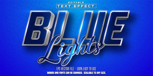 Blaulichttext, glänzender silberner und blauer bearbeitbarer texteffekt im farbstil