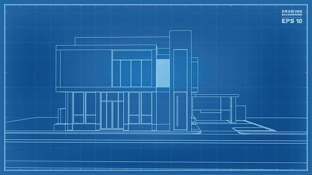 Blaupausen-perspektive. 3d-darstellung von tropenhaus-drahtmodell. vektor-illustration der hausbauidee.