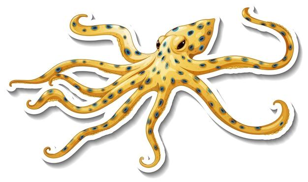 Blauringiger oktopus-aufkleber auf weiß