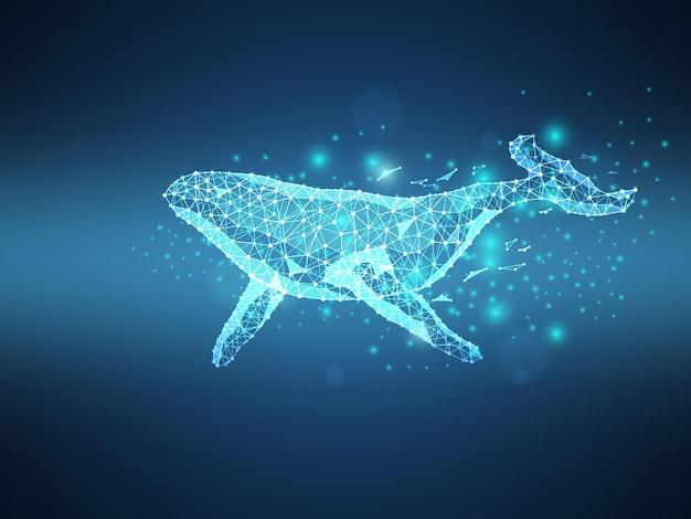 Blauwal futuristischer drahtgitter-vektor-illustrations-technologiehintergrund